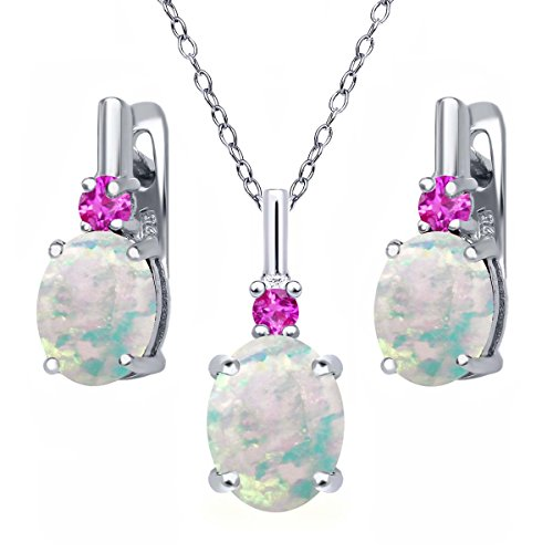 Earrings Oval Pink Sapphire (4.88 Ct Oval Cabochon White Simulated Opal Pink Sapphire 925 Sterling Silver Pendant Earrings Set)