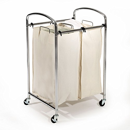 Seville Classics Mobile Double Bag Compact Laundry Hamper