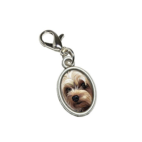 Graphics and More Yorkshire Terrier - Yorkie Dog Pet Antiqued Bracelet Pendant Zipper Pull Oval Charm with Lobster Clasp -