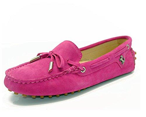Minitoo - Mocasines para para mujer, estilo Casual, ante, con lazo rosa (b)