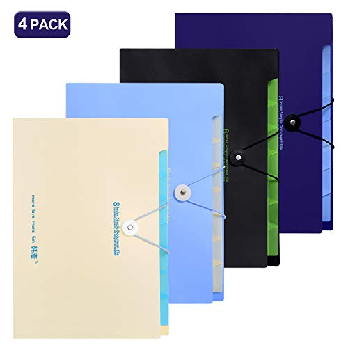 - Skydue Expanding File Folders 5 Pockets Letter A4 Accordion Document Paper Organizer, Pack of 4