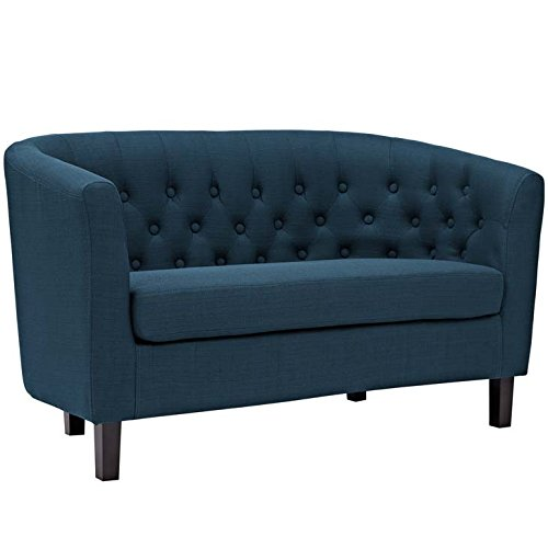 Modway Prospect Upholstered Contemporary Modern Loveseat In Azure - Contemporary Style Loveseat