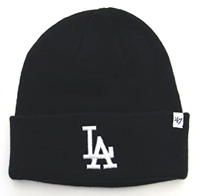 Los Angeles Dodgers Knit 47 Brand Beanie Fold All Black