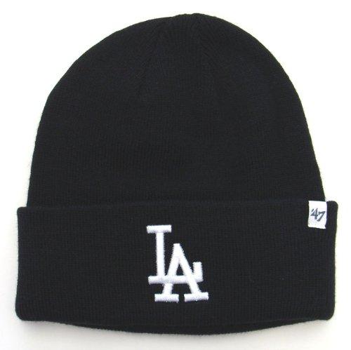 Los Angeles Dodgers Knit 47 Brand Beanie Fold All Black c6067ab04
