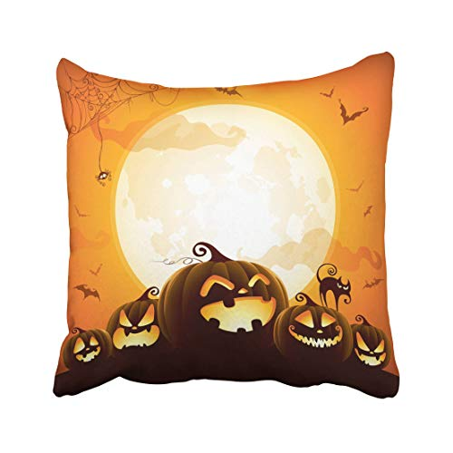 Emvency Moon Halloween Pumpkins Under The Moonlight Cute Fun Event Jack Space Lantern Backlit Throw Pillow Covers 20x20 Inch Decorative Cover Pillowcase Cases Case Two -