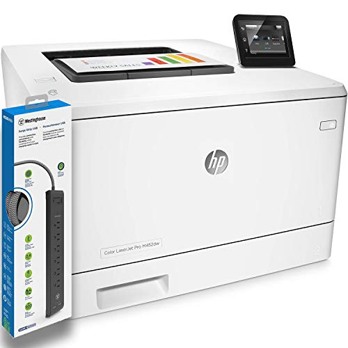 HP Color Laserjet Pro M452dw Laser Printer (CF394A) with Power Strip Surge Protector