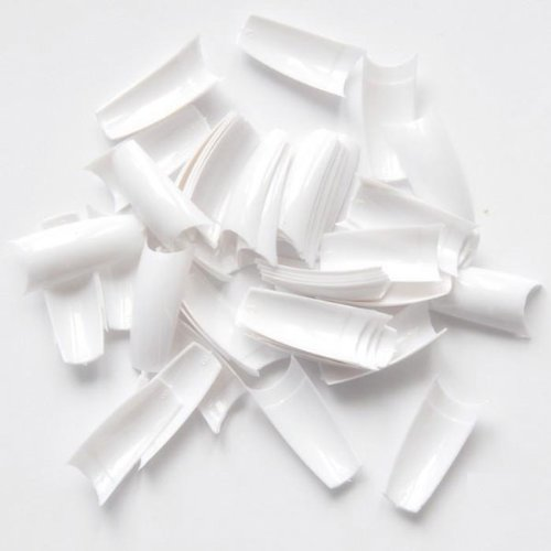 500pcs Lady White French Acrylic Style Artificial False Nails Half Tips