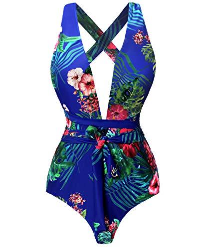 Begonia.K Women's Tropical Print Deep V-Neck Criss Cross Floral One Piece Swimsuit (X-Large, Dark Blue) ()