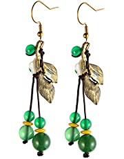 YANRU Woman Girl Bohemian National Wind Recovery Ancient Way Flower Earring Leaf Earrings