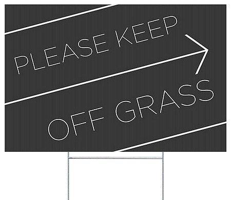 CGSignLab  Please Keep Off Grass -Basic Black Double-Sided C