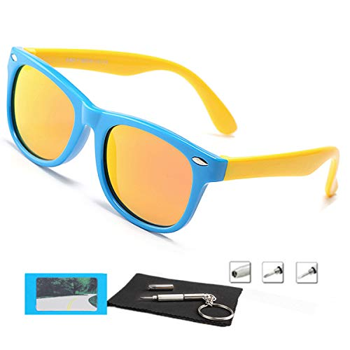 Kids Sunglasses For Kids Polarized Sunglasses Girls Mirrored Lens eyewear Children Youth Boys Age 3-10 (Rubberized Blue &Yellow | Polarized Orange)