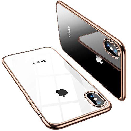 TORRAS Crystal Clear iPhone Xs Max Case, Soft Silicone TPU Thin Cover Slim Gel Phone Case for iPhone Xs Max 6.5 inch (2018) - Gold (Rim 6 Iphone Gold Case)