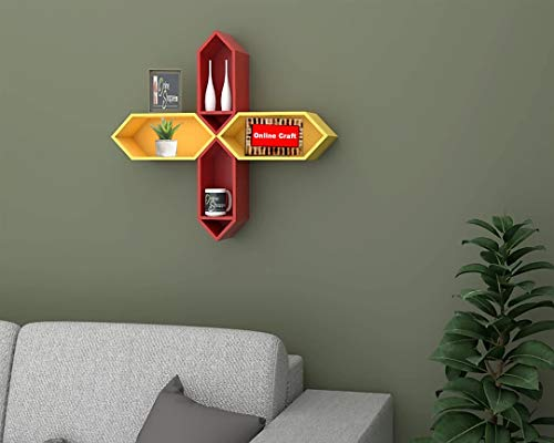 onlinecraft Wooden Wall Shelf  red, Yellow