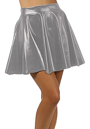 Marvoll Women's Club Metallic Shiny Skirt Circle Liquid Mini Wet Look (Kids Medium, Gray) (Plus Size Female Superhero Costumes)