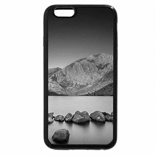 iPhone 6S Plus Case, iPhone 6 Plus Case (Black & White) - sunrise on a rocky lake