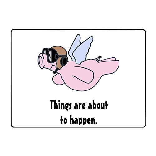 Pilot Flying Pigs Welcome Aboard Super Absorbent Anti-Slip Mat,Funny Doormat,Indoor/Outdoor Decor Rug -
