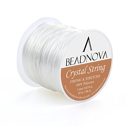 Bracelet Jewelry Stretch Bead - BEADNOVA 1mm Elastic Stretch Polyester Crystal String Cord for Jewelry Making Bracelet Beading Thread 60m/roll (Clear White)