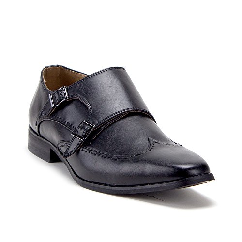 Mens Slip On Double Monk Strap Wing Tip Casual Loafers Dress Shoes