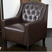 Gabriel Best Comfortable Brown Tufted Leather Club Chair Armchair