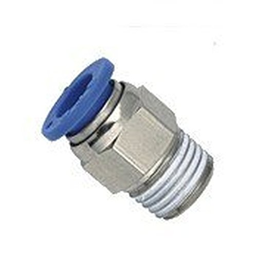 MettleAir MTC 8-N02-1PK Push to Connect Straight Male Fitting, 8 mm OD, 1/4