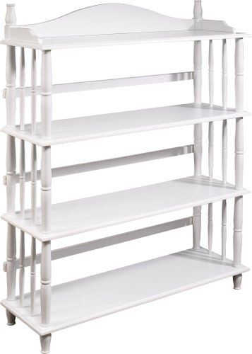 Altra Daysha 4 Shelf Spindle Leg Bookcase, White