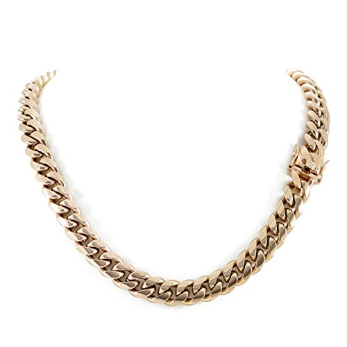 Men's Miami Cuban Link Chain 14k 18k Yellow Gold White Or Rose Gold Plated Stainless Steel 8-18mm Thick (Rose Gold 12mm, 28) 14k Gold Miami Cuban Link