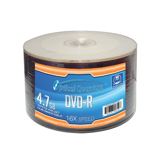Optical Quantum OQDMR16WIPH-50SP 16X 4.7 GB DVD-R White Inkjet Printable Recordable 50-Disc - 16 Inkjet