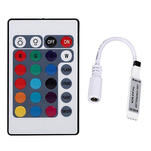 Delaman Mini IR Remote Wireless Wifi Controller for 3528 5050 RGB LED Strip Light (IR24 Keys)
