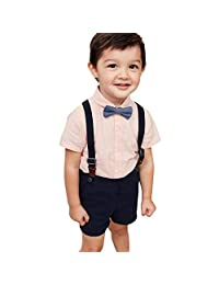 Baby Boys Clothes Sets Bow Ties Shirts+Suspenders Pants Toddler Boy Gentleman Outfits Suits(0-4 Years) Pink Shirt