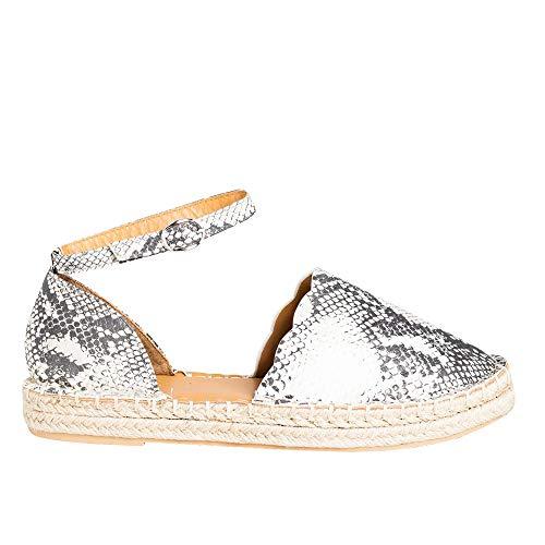 FISACE Womens Snake Print Summer Espadrille Ankle Strap Flat Sandals Peep Toe Flip-Flop Shoes