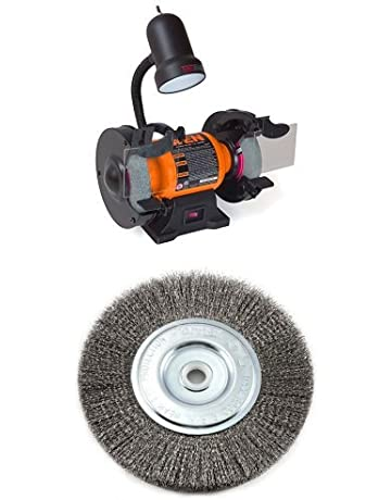 WEN 4276 6-Inch Bench Grinder with Wire Bench Wheel Brush, Fine Crimped with