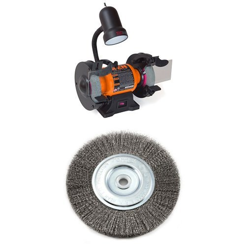 WEN 4276 6-Inch Bench Grinder with Wire Bench Wheel Brush, Fine Crimped with 1/2-Inch and 5/8-Inch Arbor (Brush Wen)