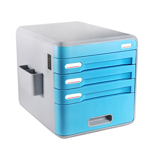 Review FINE DRAGON 3-Drawer Mini Desk File Organizer Cabinet with Combination Lock for Office and Household (Cyan)
