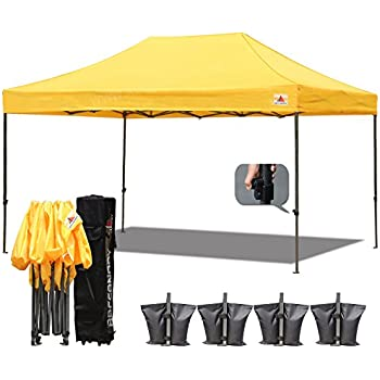 18 colorsabccanopy 10x15 pop up tent instant canopy commercial outdoor canopy with wheeled carry bag bonus 4x weight bag gold