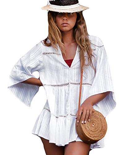 Bsubseach White Long Sleeve Beach Tunic Shirt Cover Up Dress Loose Swimsuit Bathing Suit Cover Ups for Women