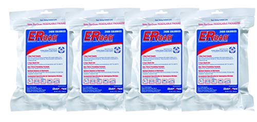 ER Emergency Ration 2400 Calorie Food Bar for Survival Kits and Disaster Preparedness, 4 Pack, 1AQK-4P