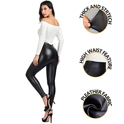 (MCEDAR Women's Faux Leather Leggings with Pockets Plus Size Girls High Waisted Sexy Skinny Pants (XL, Black)