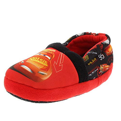Soft Soles Race Car - Disney Cars Boys Aline Slippers (7/8 M US Toddler, Red/Black)