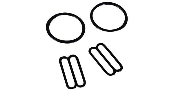 13mm Porcelynne Black Nylon Coated Metal Replacement Bra Strap Slide and Ring Set 1//2 2 Rings - 2 Slides Opening -