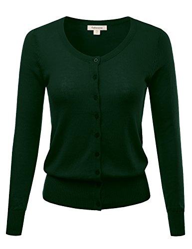 FASHIONOMIC Women's Button Down Crew Neck Light Weight Long Sleeve Knit Cardigan Sweater (S-62X) (CLLC001) Huntergreen (Lightweight Cotton Crewneck Sweater)