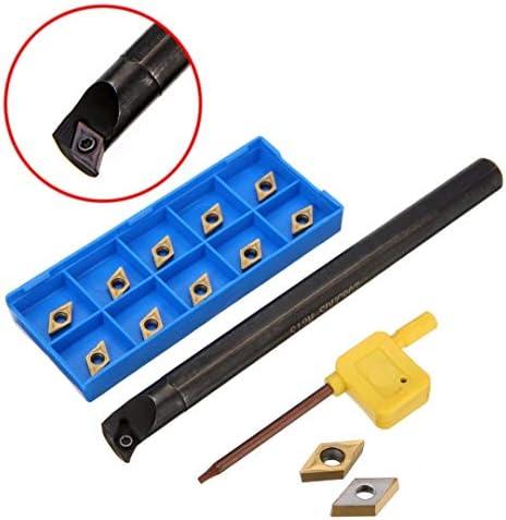 GENERICS LSB-Werkzeuge, 11 stücke DCMT0702 Wendeschneidplatten + S12M-SDUCR07 Bohrstange 150mm mit Schraubenschlüssel for CNC Drehmaschine Innendrehwerkzeuge