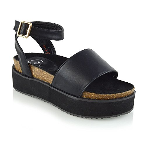 Peep Sandals Toe Black Chunky Leather Strap ESSEX Sandals Flatform Ankle GLAM Womens Synthetic gqn6ZX