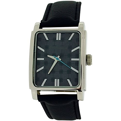 Textured Black Dial Black Leatherette Strap Watch BS034 ()