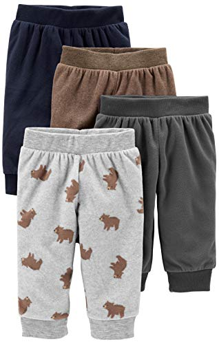 Simple Joys by Carter's Boys' 4-Pack Fleece Pants, Gray/Navy/Brown/Bear Print, 3-6 Months