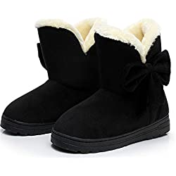 Dahanyi Stylish Female Warmer Plush Bowtie Fur Suede Rubber Flat Slip On Winter Ankle Snow Boots Women's Fashion Platform Black Shoes