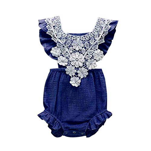 WOCACHI Newborn Infant Baby Girls Lace Floral Romper Bodysuit Sleeveless Clothes Outfits 0-3M 0-6M 3-6 Mos 6-9M 9-12M 6-12M 12-18M 18-24M 0-3T 0-24 Months 2 Years and Up 2T 3T ()