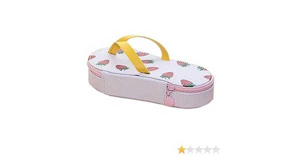 BIGBOBA - Estuche de lona para lápices, con forma de zapatilla, bolsa de cosméticos, bolsa de papelería, para oficina, escuela, 19,5 x 8,5 x 4 cm, lona, Fresa, 19.5*8.5*4 cm: Amazon.es: Hogar