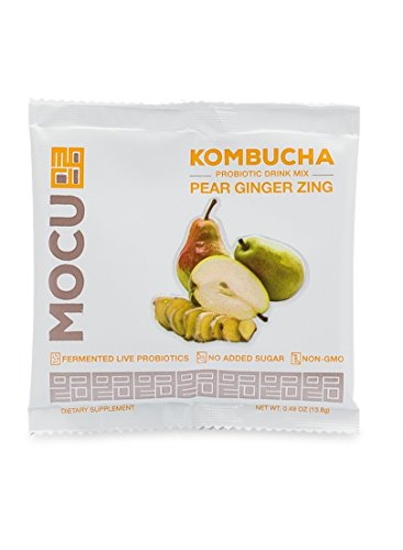Powder Effervescent Packets (MOCU Kombucha Probiotic Drink Mix, Pear Ginger Zing - No Sugar Added - 12 Count)