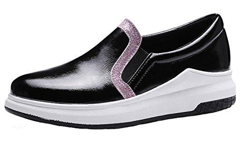 Summerwhisper Kvinna Eleganta Elastisk Kontrastfärg Rund Tå Låga Topp Dagdrivare Skor Lägenheter Plattform Sneakers Svart