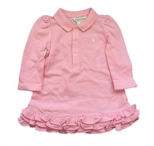 Ralph Lauren Infant Dresses (Ralph Lauren Baby Girl Long Sleeve Cotton Polo Dress 6 Month Camel Pink)